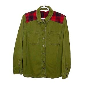 Army Green Canvas Fleece Plaid Patch Button Down M